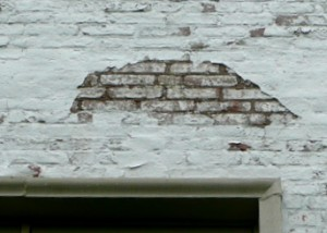 Old Limewash Visible on Exposed Brick
