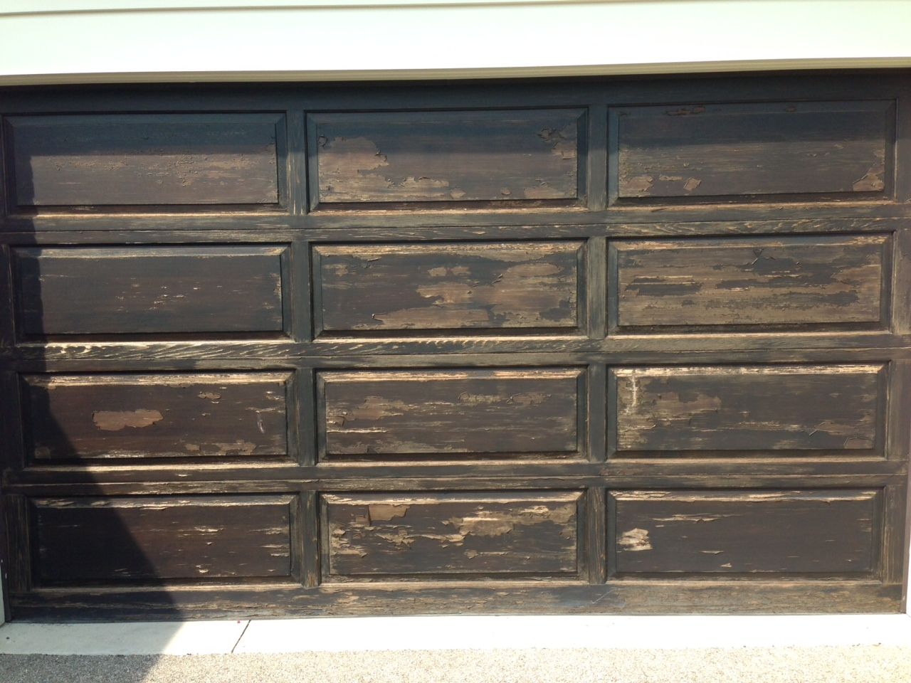 Failed Coating On Wood Garage Door