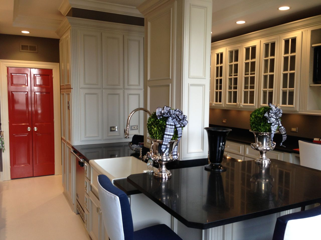 painted kitchen cabinets with wood doors